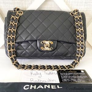 Chanel Precious Jeweled CC black lambskin flap bag